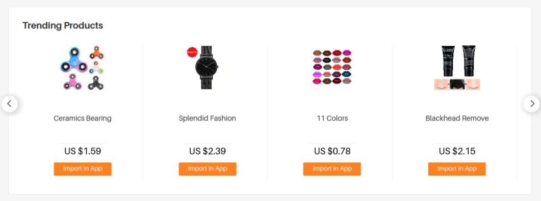 Aliexpress trending products.